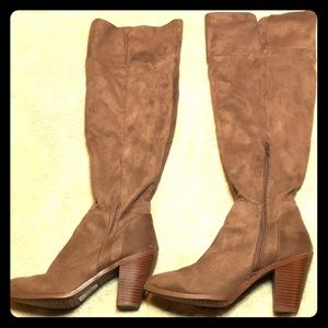 Over the knee tan boots